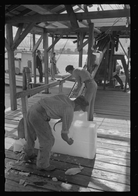 Chopping ice before shaving it to be used in icing shrimp boat, Morgan City, Louisiana