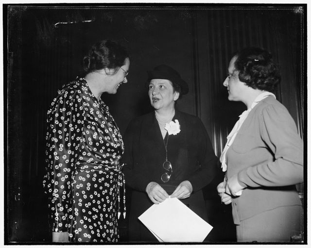 "Clara M. Beyer, Miss Perkins, and Miss Perkins' secretary, Miss Jenkowitz, known to fellow workers as ""Miss J"""