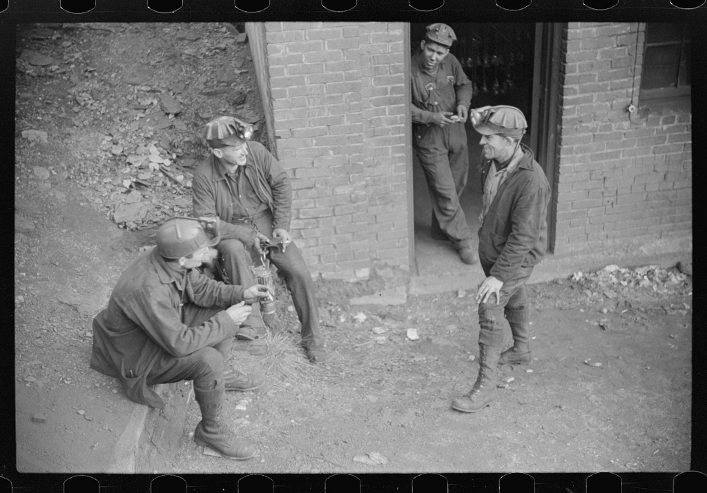 Coal miners waiting for next shift, Caples, West Virginia