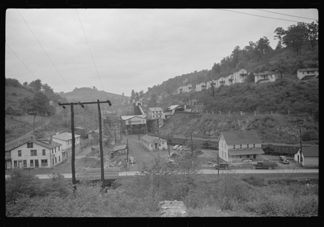 Company houses, coal mining section, with coal washer in center, Purseglove, Scotts Run, West Virginia