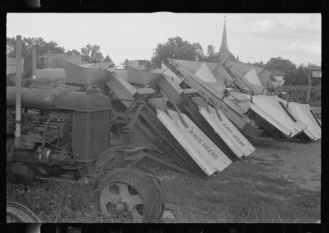 Corn harvesters on sale lot, central Ohio (see general caption)