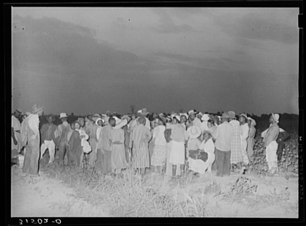 Cotton pickers, day laborers, waiting to be paid at end of day's work.  Lake Dick Project, Arkansas
