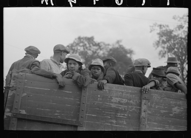 Cotton pickers in truck, Pine Bluff, Arkansas