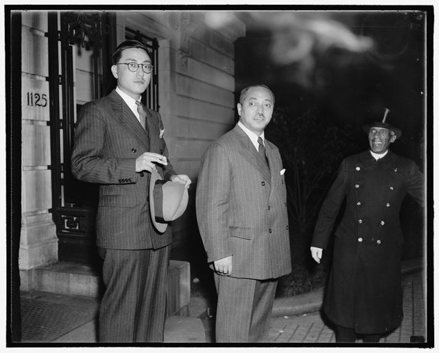 Counselor of Jap. Emb. Hisaji Hatteria, Attache, left; Yakichiro Sunna, Counselor, right