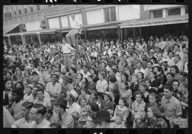 Crowd, listening to the Cajun band at National Rice Festival, Crowley, Louisiana