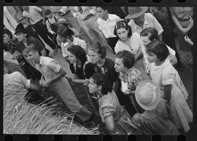 Detail of crowd listening to Cajun band contest, National Rice Festival, Crowley, Louisiana