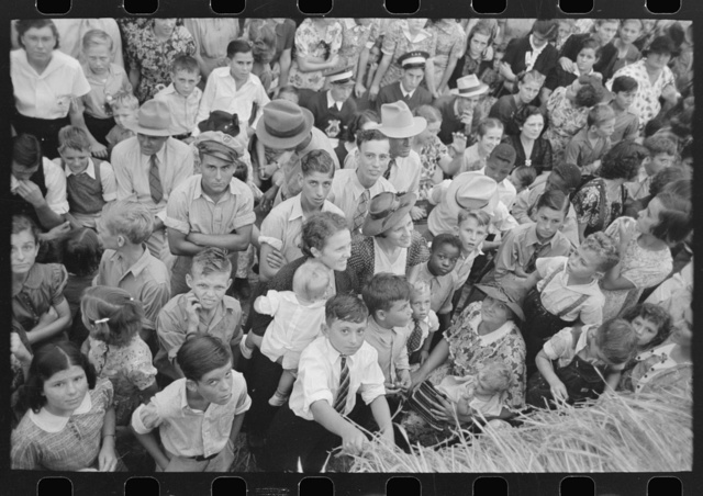 Detail of crowd of spectators, National Rice Festival, Crowley, Louisiana, listening to Cajun band