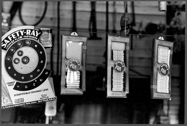 Display of goods in a store, La Forge, Missouri