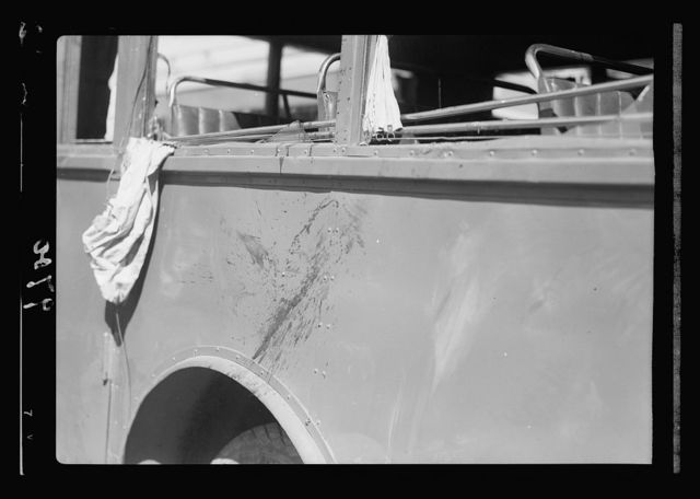 Disturbance. Attack on an Arab buss [i.e., bus] July 4, 1938. An Arab National blood-stained buss