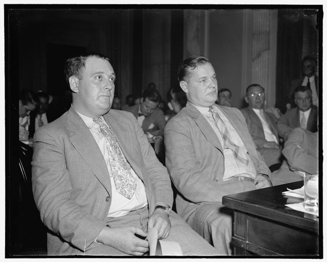 Eddie C. Ray, of Warren, Ohio, left and Kenneth J. Sodiers, of Cleveland, Ohio, undercover men for Republic Steel, testifying before the Lafollette Civil Liberties Committee