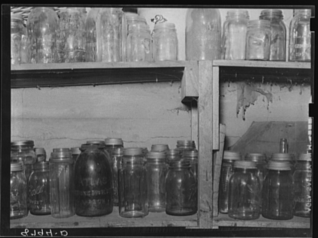 Empty jars in storage cellar. Republic County, Kansas
