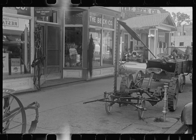 Farm implements outside store, Canal Winchester, Ohio | PICRYL