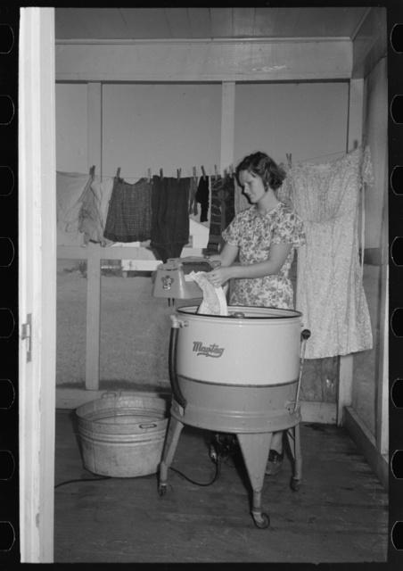 Farm wife washing clothes, Lake Dick Project, Arkansas