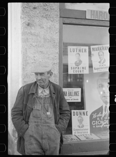 Farmer on the street, Minneapolis, Kansas
