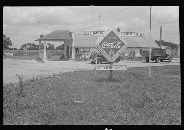 Filling station and road signs in central Ohio  (see general caption)