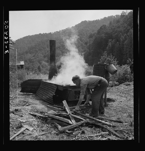 Firing the vat with wood which makes very hot fire for cooking sorghum. Racine, West Virginia