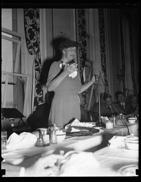 FIRST LADY BREAKS PRECEDENT IN SPEAKING TO MEMBERS OF NATION PRESS CLUB. WASHINGTON, D.C. SEPTEMBER 28. ADDRESSING MEMBERS OF THE NATIONAL PRESS CLUB AT A LUNCHEON MEETING TODAY, MRS. FRANKLIN D. ROOSEVELT BROKE A RULE OF MANY YEAR'S STANDING. SHE IS THE FIRST WOMAN TO HAVE ADDRESSED THE NEWSMEN AT A REGULAR LUNCHEON MEETING SINCE THE ORGANIZATION OF THE CLUB IN 1905. SHE SPOKE ON RESETTLEMENT BUT THE TALK WAS OFF-THE-RECORD