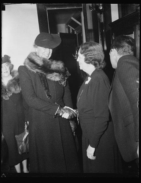 FIRST LADY CONGRATULATES NEW APPOINTEE TO SOCIAL SECURITY BOARD. WASHINGTON, D.C. DECEMBER 30. MRS. FRANKLIN D. ROOSEVELT CONGRATULATING MRS. ELLEN S. WOODWARD, WHO WAS TODAY SWORN IN AS A MEMBER OF THE SOCIAL SECURITY BOARD TO SUCCEED MISS MARY DEWSON. THE FIRST LADY WISHED MRS. WOODWARD 'THE UTMOST OF SUCCESS.' MRS. WOODWARD WAS FORMERLY AN ASSISTANT PWA ADMINISTRATOR