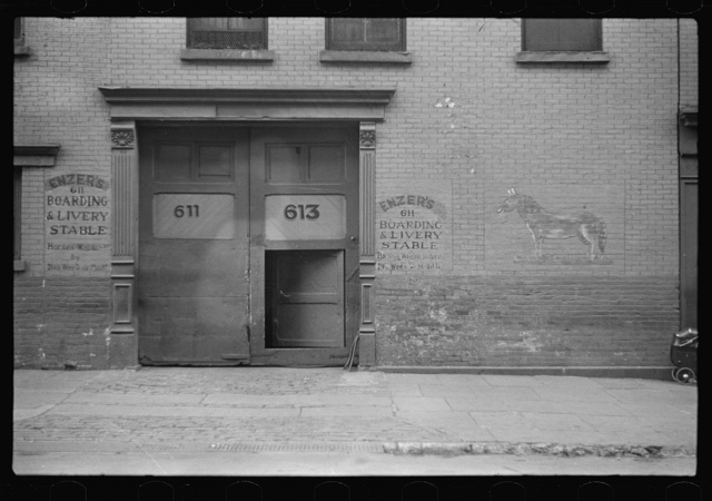 Front of livery stable, East Side, New York City