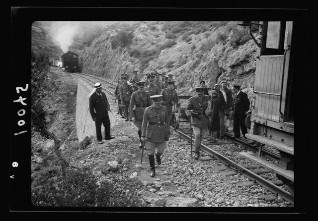 G.O.C. visits overturned locomotive on the Jerusalem Lydda Railroad Line. Arrival of the G.O.C. at the scene of the R.R. [i.e., railroad] blockade.