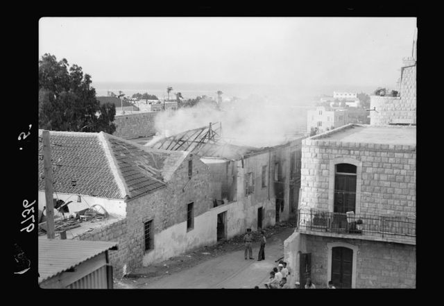 Haifa, result of terrorist acts & government measures. H.M.S. Incendiary in a Jewish Quarter in Haifa