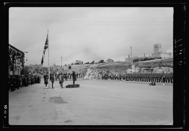High Commisioners. Coming & departing. Sir Arthur Wauchope the retiring High Commissioner arriving at the Railway Station Square for the ceremony of taking leave, March 1, 1938. H.E. (i.e., His Excellency) return salute to Guard of Honor