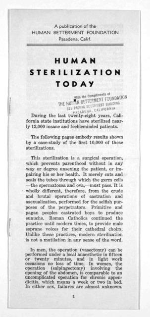 Human sterilization today. Human betterment foundation.