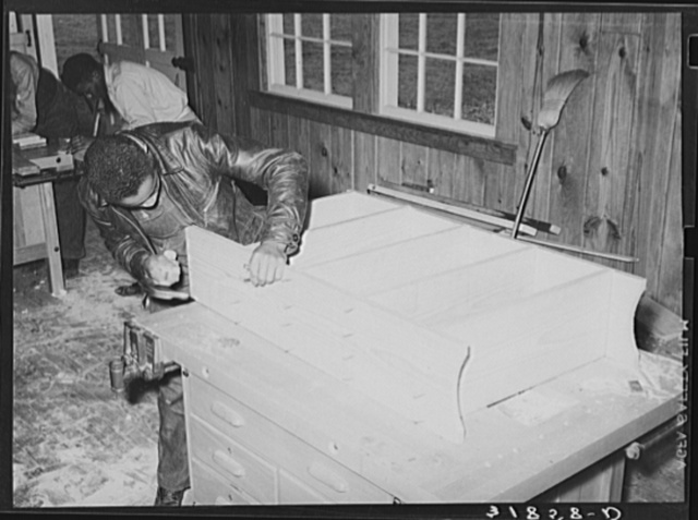 In manual training class, boys are taught to build useful articles for the home. Lakeview Project, Arkansas