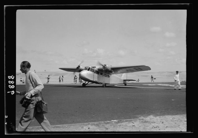Inauguration of Tel-Aviv landing ground. Palestine Airways. A plane taxing [ie., taxiing] to take position for start