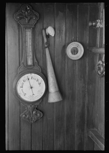 Instruments in wheel house of El Rito, barometer, thermometer, and fog horn, Louisiana