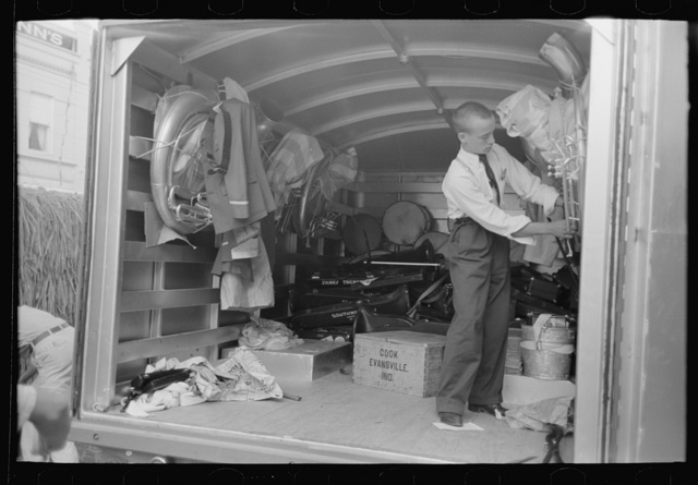 Interior of truck used for transportation of band instruments, Crowley, Louisiana