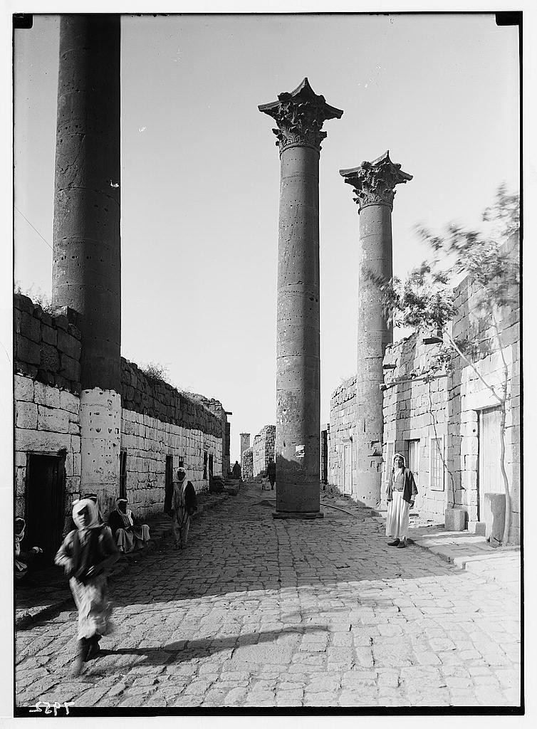 Jebel el-Druze & Hauran. Basra Eski Sham. Street in town with Roman columns & pavement