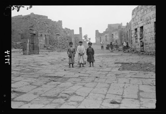 Jebel el-Druze & Hauran. Kanawat. The Roman pavement of the town square showing ornamental doorway on the right