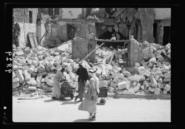 Jenin, Sept. 3, 1938. Inhabitants salvaging their house-hold effects