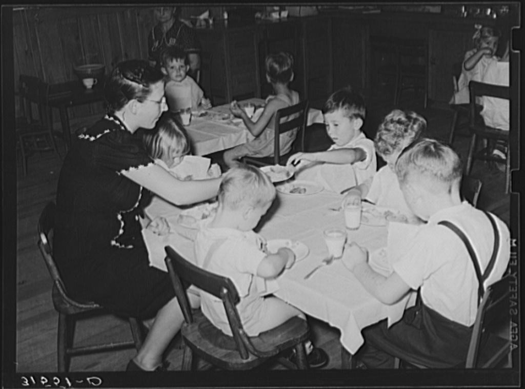Kindergarten children eating lunch. Lake Dick Project, Arkansas