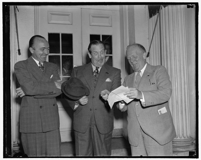 Left to right; George Durno, International News Service writer; Lew Lehr, movie comedian; Karl Godwin, Washington Times