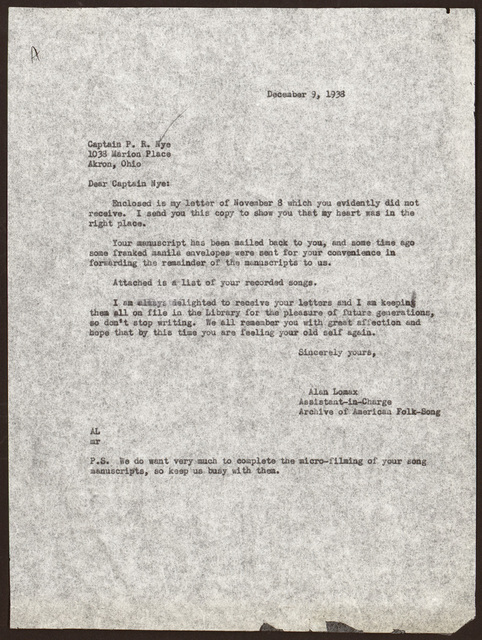 Letter from Alan Lomax to Pearl R. Nye, December 9, 1938