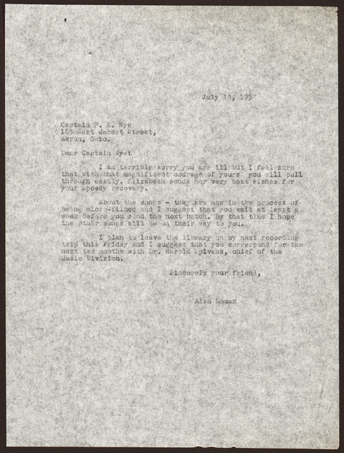 Letter from Alan Lomax to Pearl R. Nye, July 18, 1938