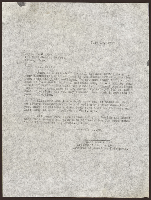Letter from Alan Lomax to Pearl R. Nye, July 19, 1938
