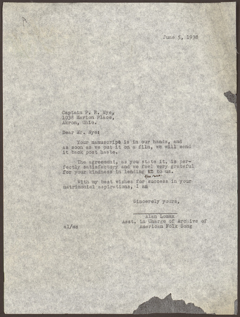 Letter from Alan Lomax to Pearl R. Nye, June 5, 1938