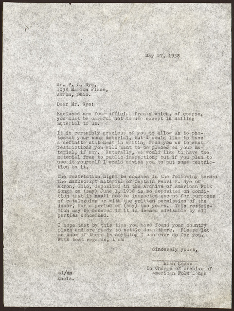 Letter from Alan Lomax to Pearl R. Nye, May 27, 1938