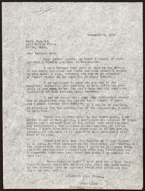 Letter from Alan Lomax to Pearl R. Nye, November 8, 1938