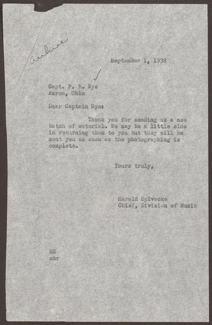 Letter from Harold Spivacke to Pearl R. Nye, September 1, 1938