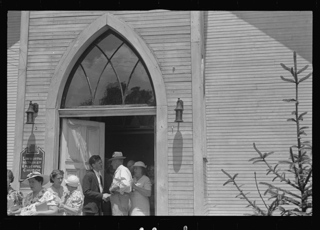 Linworth, Ohio. People leaving church