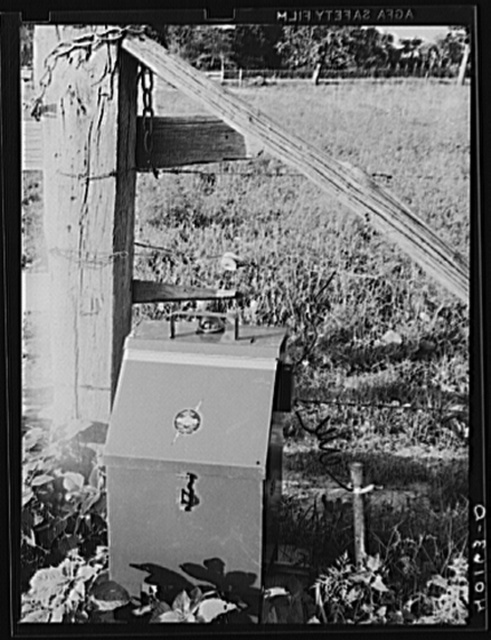 Lititz (vicinity), Lancaster County, Pennsylvania. Electric fence controller on the C.F. Minnich farm