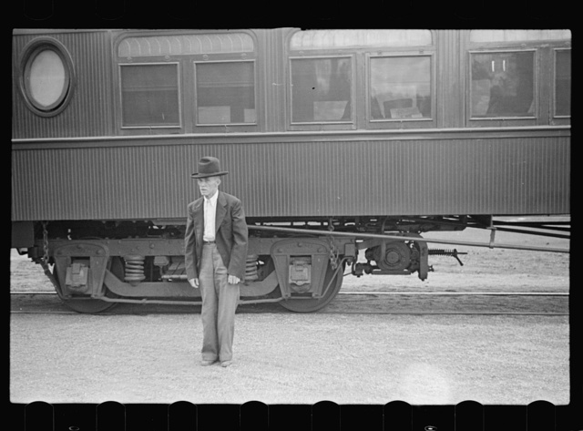 Man in railroad station, Manchester, Georgia