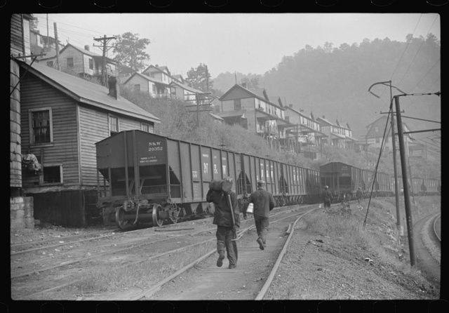 Miners going home from work, Caples, West Virginia