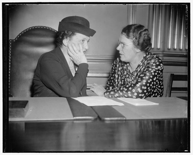 Miss Perkins and Clara M. Beyer, Assistant Director of the Division of Labor Standard, Department of Labor, and a labor writer of some note. (I was told by Miss Perkins' secretary that the latter lady is worth watching off the record)