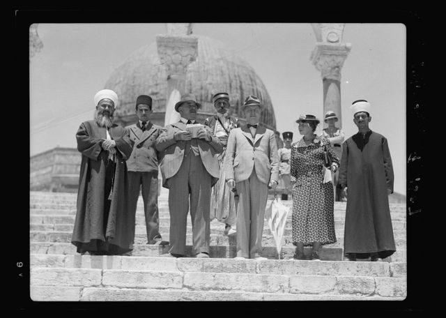 Monsieur & Madame Edouar [i.e., Edouard] Herriot visit to Jerusalem, May 11, 1938. Party visiting Temple Area, showing dome in background