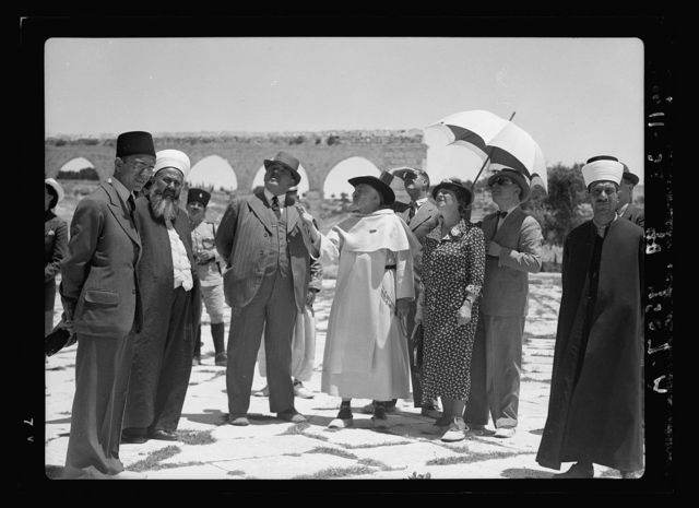 Monsieur & Madame Edouar [i.e., Edouard] Herriot visit to Jerusalem, May 11, 1938. Party visiting Temple Area, showing entrance